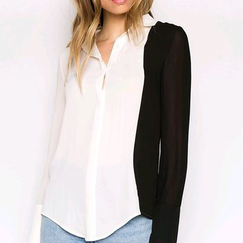 Always A Leader White Georgette Crepe Black Long Sleeve Button Down Blouse Top