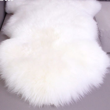 Nursery Larger Genuine Sheepskin Rug Real Fur Carpet Bed Throw Floor Blanket White Rugs and Carpets For Living Room 80x120cm