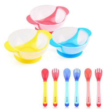 3Pcs set Baby Learning Dishes With Suction Cup Assist Food Bowl Temperature Sensing Spoon Baby Tableware Cute