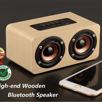 Fashion Dual-horn Wooden Bluetooth Speaker With Bass Music Sound Intelligent