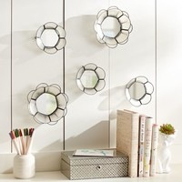 Capiz Wire Mini Mirrors, Set Of 5