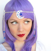 Moon Circlet in White Blue and Silver