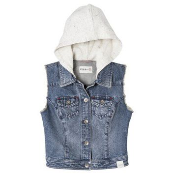 FEED for Target® Women's Denim Hoodie Vest -Medium Wash