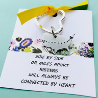 Long Distance Keychain, Personalized United States Keychain, Long Distance Key Chain, Sisters, Moving Away Gift, Sister Quote