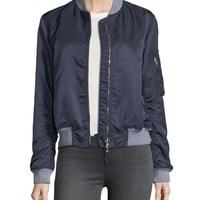 Rag & Bone Manston Ruched Satin Bomber Jacket
