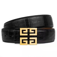 Free shipping-Givenchy crocodile retro personality smooth buckle belt