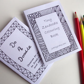 2 Mini Zines Zentangle Inspired DoADoodle and Tiny Zendoodle Coloring Book, by JoArtyJo