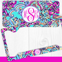 Aqua Purple Paisley Monogram License Plate Frame Holder Metal Wall Sign Tags Personalized Custom Vanity