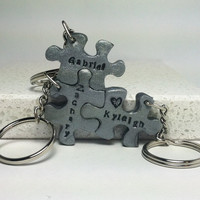 Puzzle Pieces Interlocking Key Chains 3 piece set Personalized with Names Polymer Clay