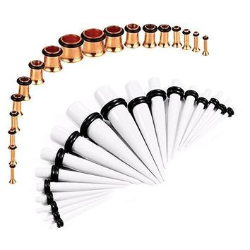 BodyJ4You Gauges Kit White Tapers Rose Gold Plugs Steel 14G-00G Stretching Set 36 Pieces