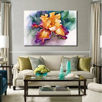 Posters and Print Wall Art Canvas Painting Wall Decoration Colorful Abstract Garden Iris Pictures for Living Room Wall Frameless