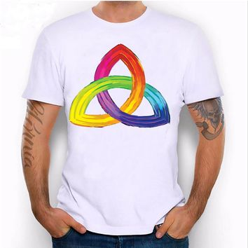 Strange celtic symbol which is created with rainbow colors print T-shirt for men's size sml