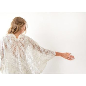 Ivory sequins lace shrug, Bridal Cover Up