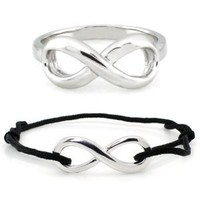 "Sterling Silver Infinity Set - Ring (sz 4 to 10) & Adjustable (5"" to 10"") Black Rope Bracelet, Size 7"