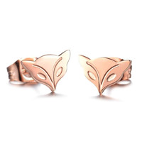 Titanium Rose Gold Fox Stud Earrings for Fall Winter [9047554631]
