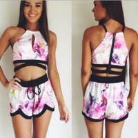 Printed suit dew belly printed with two-piece outfit