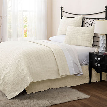 Lush Decor C24607P14-000 Crinkle Solid Ivory Three-Piece King Quilt Set - (In No Image Available)