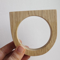 Made from OAK - 15 mm Wooden bangle unfinished round with two corners - natural eco friendly GE15-OAK