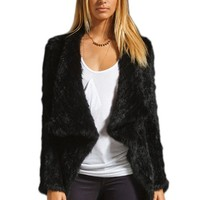 Bafei Rabbit Fur Knitted Big Turn Down Collar Women Coat Outwear (M)