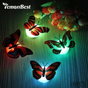 Lemonbest RGB LED Night Light Beautiful Butterfly Multicolor Changing Night Lamp for Desk Wall Christmas Wedding Decoration