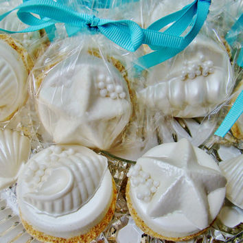 "CHOCOLATE Covered OREO Cookies With Chocolate Sea Shells On A ""Sandy"" Beach**Luau Party Favor**Beach Wedding Favor**UNIQUE Wedding Favor"