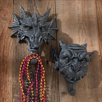 Drachen & Grendel Wall Hooks: Set Of 2 - Design Toscano