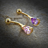 Tanzinite or Pink Tear Drop CZ 14kt Gold Plated Navel Ring 14ga Belly Button Ring Body Jewelry