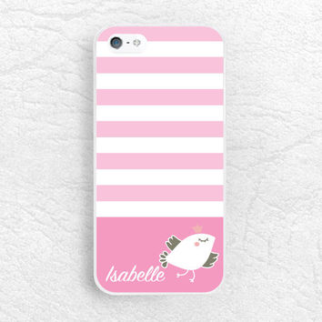 Striped Lovely Bird Monogram Phone Case for iPhone 6 5 4, Sony z1 z2 z3, LG G2 nexus 6, Samsung s5, HTC, Nokia personalized name custom case