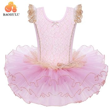 BAOHULU Cute Girls Princess Ballet Dress tutu Pink Short Sleeve Party Dance Ballet dresses tutu Costumes Dance Leotard wear