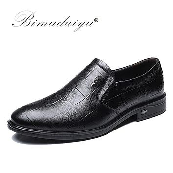 Genuine Leather Shoes Men Slip-on Black Brown Oxford Shoes Business Casual Shoes Breathable Flats Shoes Men