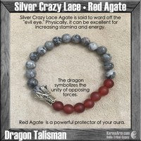 POWER: Silver Crazy Lace | Red Agate | Dragon | Yoga Chakra Bracelet