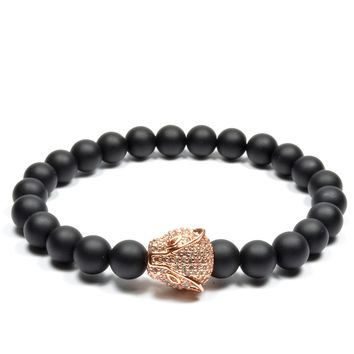 Matte Black Onyx / Rose Gold Cheetah CZ