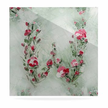 """Maria Bazarova """"Floral Monogram W"""" Pink Green Floral Nature Painting Digital Luxe Square Panel"""