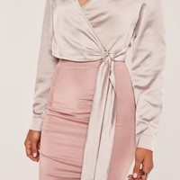 Missguided - Grey Long Sleeve Satin Wrap Front Cropped Blouse