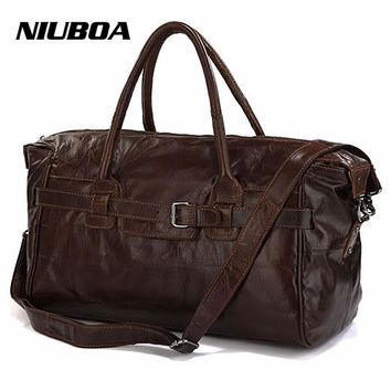 NIUBOA Vintage Genuine Leather Travel Bag Men Soft Real Leather Duffel Bags Luggage Travel Men Big Business Duffle Weekend Tote