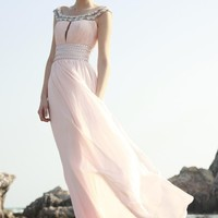 Elegant A-Line Off-the-Shoulder Floor-Length Empire Waistline Prom Dresses