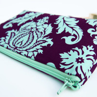 Plum pencil pouch, Purple cosmetic case /aqua purple birds, large makeup bag, clutch / wristlet /  pencil case