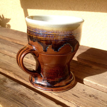 Stoneware Drip Glaze Mug, Brown Glazed Mug, Glazed Pottery Coffee Mug, Drip Glaze Footed Mug, Glazed Pottery Mug, Glazed Stoneware Mug