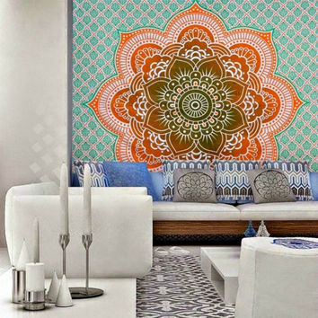 Orange Ombre Bohemian Lotus Flower Boho Tapestry