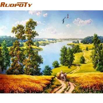 RUOPOTY Autumn Landscape DIY Painting By Numbers Modern Home Wall Art Acrylic Paint On Canvas Hand Painted Oil Painting For Home