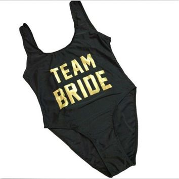 TEAM BRIDE Gold Letter Print Sexy Thong One Piece Swimsuit Women High Cut Monokini Swimwear Beach Backless Funny Bathing Suit