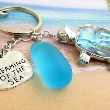 Abalone Shell Turtle Keychain with Sea Glass