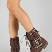 Bumper Finny-01 Tribal Buckle Lace Up Boot