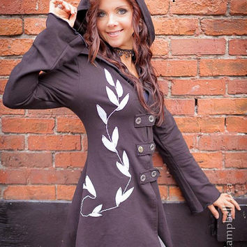 Black corset laced bamboo hoodie fairy Faye Tality Couture