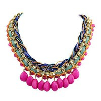 Pink Rhinestone Layered Necklace