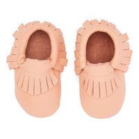 Coral Peach Leather Fringe Baby Moccasins