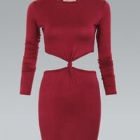 Berry Long Sleeve Fitted Jersey Dress with Cutout Waist