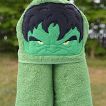 Angry Green Guy Hooded Towel