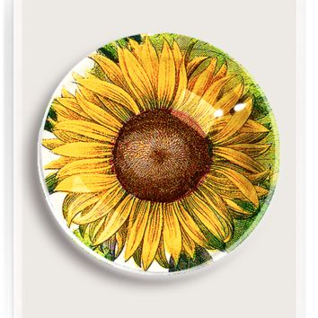 Sunflower No.3 French Crystal Dome Paperweight