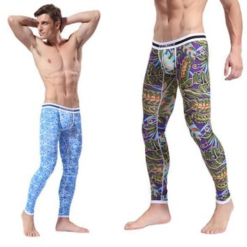 Stylish Hot Men's Soft Long Johns Pants Thermal Pants Cotton Pattern Printed Underwear S-XL For Sale